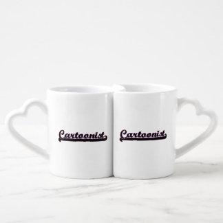 Sistema de trabajo clásico del dibujante tazas para parejas