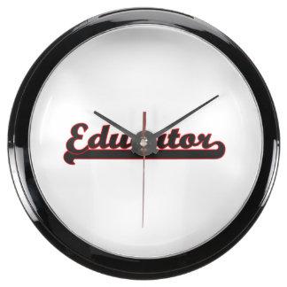 Sistema de trabajo clásico del educador reloj acuario
