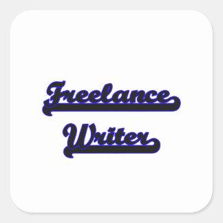 Sistema de trabajo clásico del escritor free lance pegatina cuadrada