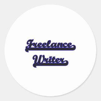 Sistema de trabajo clásico del escritor free lance pegatina redonda