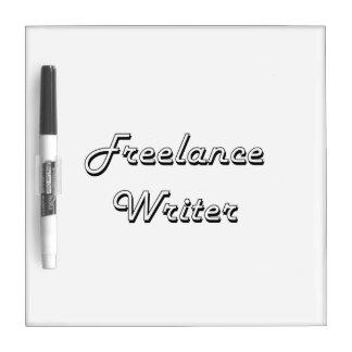 Sistema de trabajo clásico del escritor free lance pizarra blanca