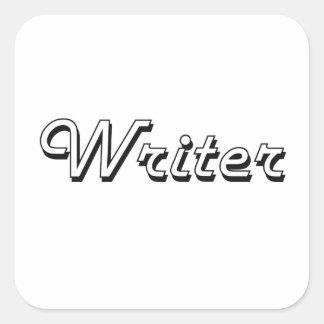 Sistema de trabajo clásico del escritor pegatina cuadrada