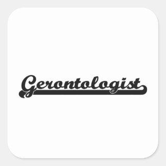 Sistema de trabajo clásico del Gerontologist Pegatina Cuadrada