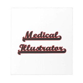 Sistema de trabajo clásico del ilustrador médico bloc de papel
