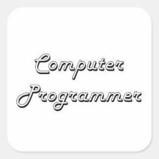 Sistema de trabajo clásico del informático pegatina cuadrada