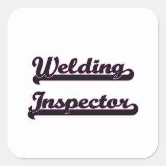 Sistema de trabajo clásico del inspector de la pegatina cuadrada