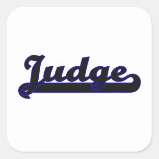 Sistema de trabajo clásico del juez pegatina cuadrada