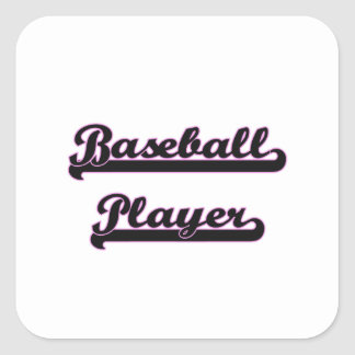 Sistema de trabajo clásico del jugador de béisbol pegatina cuadrada