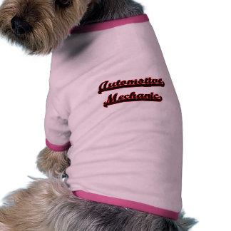 Sistema de trabajo clásico del mecánico automotriz camiseta con mangas para perro