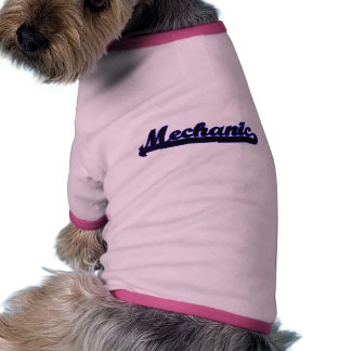 Sistema de trabajo clásico del mecánico camiseta con mangas para perro