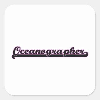 Sistema de trabajo clásico del oceanógrafo pegatina cuadrada