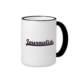 Sistema de trabajo clásico del periodista taza a dos colores