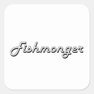 Sistema de trabajo clásico del pescadero pegatina cuadrada