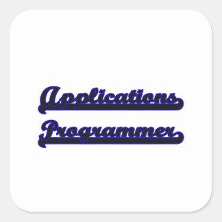 Sistema de trabajo clásico del programador de los pegatina cuadrada