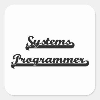 Sistema de trabajo clásico del programador pegatina cuadrada