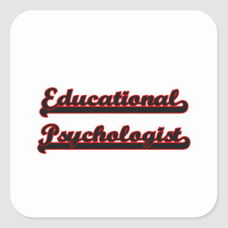 Sistema de trabajo clásico del psicólogo educativo pegatina cuadrada