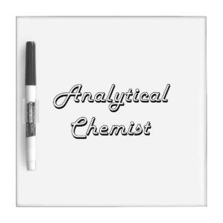 Sistema de trabajo clásico del químico analítico pizarra blanca