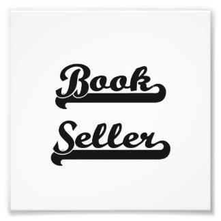 Sistema de trabajo clásico del vendedor de libro impresiones fotográficas