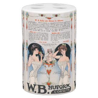 Sistema del anuncio del corsé del vintage conjunto de baño