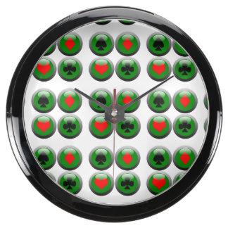 Sistema del botón del póker relojes aqua clock