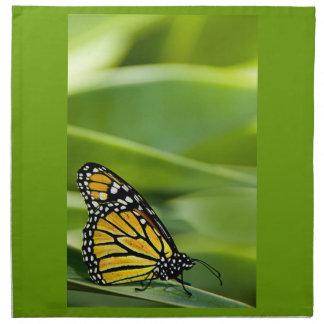 Sistema del diseño de la mariposa de monarca de servilleta imprimida