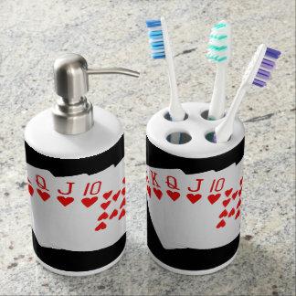 Sistema del dispensador del tenedor y del jabón de vasos para cepillos de dientes