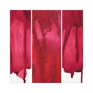 Sistema del extracto rojo de la acuarela pintado a lienzo envuelto para galerías