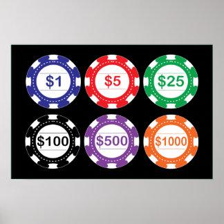 sistema del poster de las fichas de póker