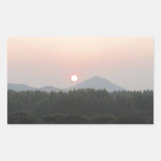sistema del sol de la subida del sol pegatina rectangular