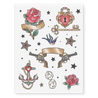 Sistema del tatuaje de la escuela vieja tatuajes temporales