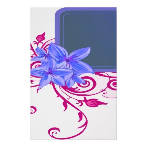 Sistema delicado del romance de la flor papelería