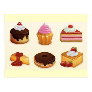 sistema delicioso del icono tarjetas postales