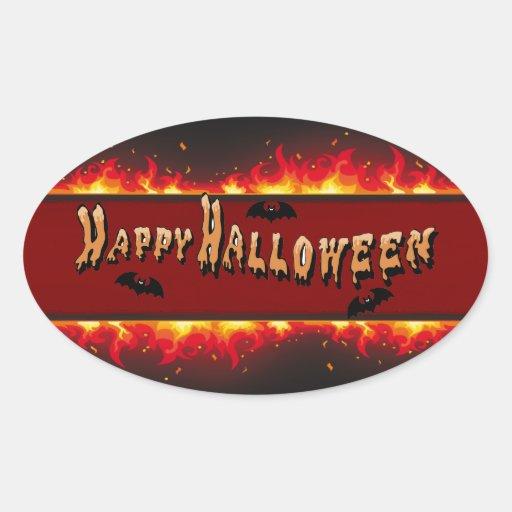 Sistema el flamear del feliz Halloween Pegatina Ovalada