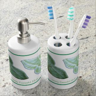 Sistema esmeralda del baño del ~ de la polilla Nev Vaso Para Cepillos De Dientes