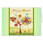 Sistema feliz del pájaro del árbol de Pascua Felicitacion