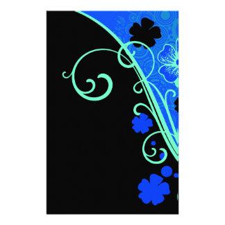 Sistema floral azulverde de neón papelería de diseño