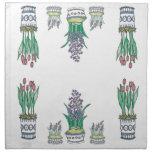 Sistema floral moderno de la servilleta de los pot