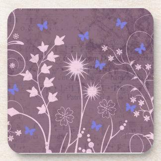 Sistema floral y de Buttefly púrpura de 6 Posavasos De Bebidas