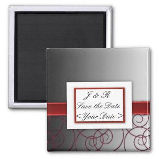 Sistema graduado negro y rojo del boda imán para frigorífico