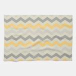 Sistema gris y amarillo de la cocina del zigzag de toalla de cocina