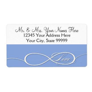 Sistema infinito del boda del amor de la muestra d etiqueta de envío
