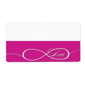 Sistema infinito del boda del amor de la muestra d etiquetas de envío