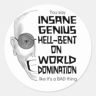 Sistema insano del pegatina del genio