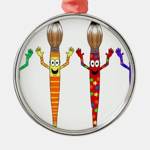 Sistema lindo cuatro del arte de la brocha adorno navideño redondo de metal