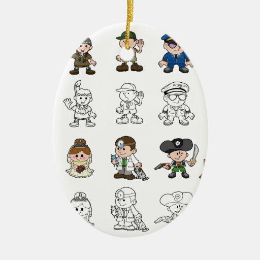 Sistema lindo de la gente del dibujo animado ornamento para arbol de navidad