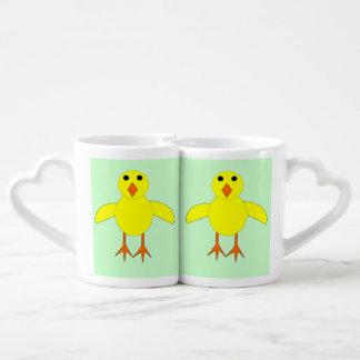 Sistema lindo de la taza del polluelo de Pascua Tazas Para Parejas
