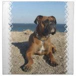 Sistema lindo del perro del boxeador de cuatro servilleta imprimida