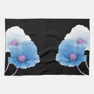 SISTEMA negro de la DECORACIÓN de las flores azule Toallas