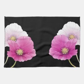 SISTEMA negro de la DECORACIÓN de las flores Toallas De Mano