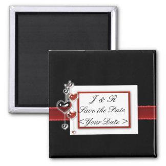 Sistema negro y rojo del boda imán para frigorífico
